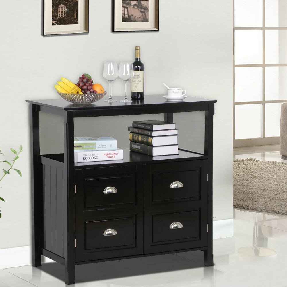 Topeakmart Black Gloss Wood Sideboard 2 Drawer Door Buffet Table with Storage Shelf Dining Room Furniture