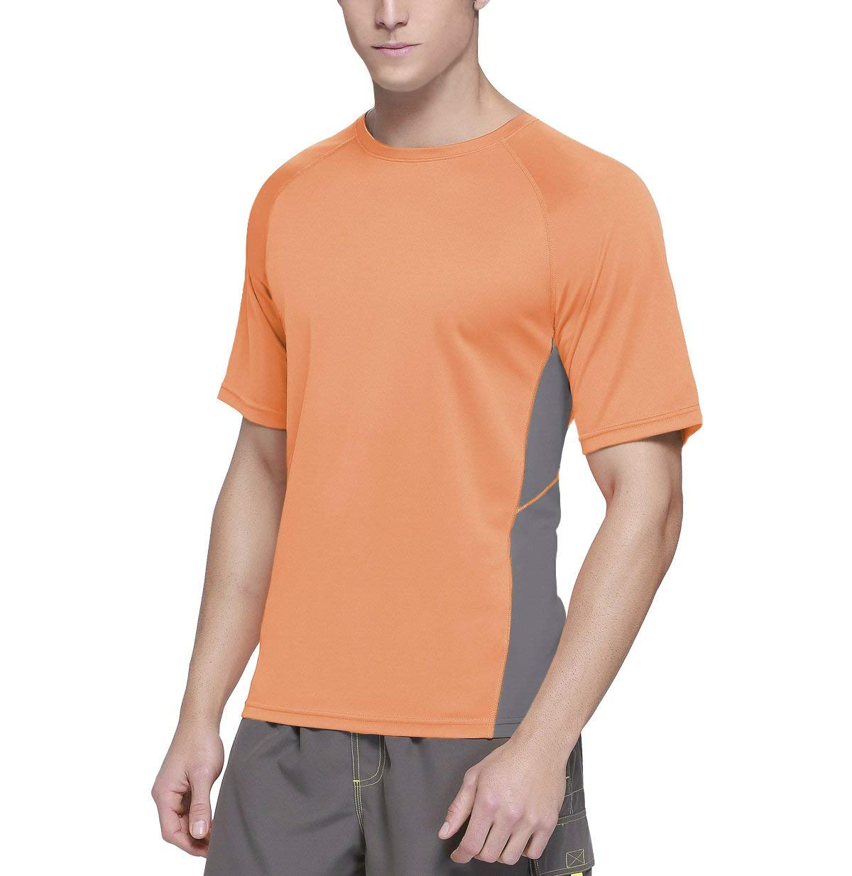 Baleaf Men's Short Sleeve Sun Protection Rashguard Swim Shirt UPF 50+ Fluorescent Orange S