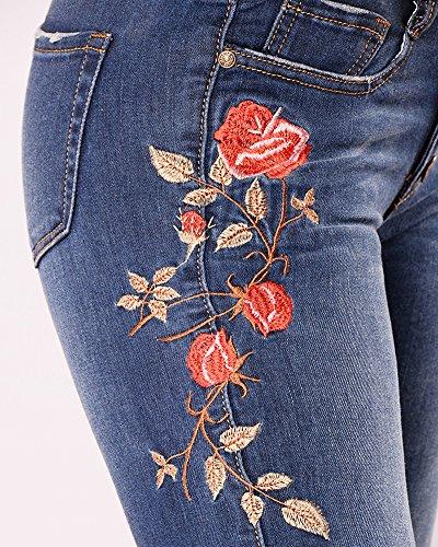 ZhuiKunA Vintage Fonc Femme Bleu Up Skinny Denim Pantalon Brod Push Jean Fleur Dchirs 7Ovw6Hrq7
