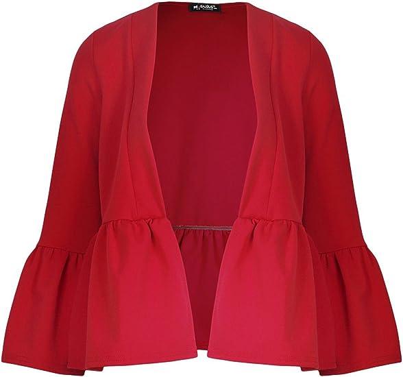 Womens Ruffle Frill Bell Long Sleeve Open Front Peplum Ladies Coat Blazer Jacket