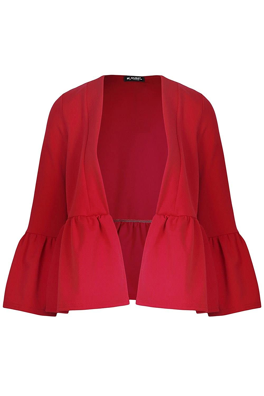 Fashion Star Oops Outlet Womens Peplum Ruffle Frill Long Sleeve Open Front Coat Ladies Crop Blazer Jacket BE JEALOUS