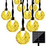 Solar String Lights, KEEDA 30 LED Crystal Ball Globe Fairy Patio Lights for Outdoor Garden (Warm White)