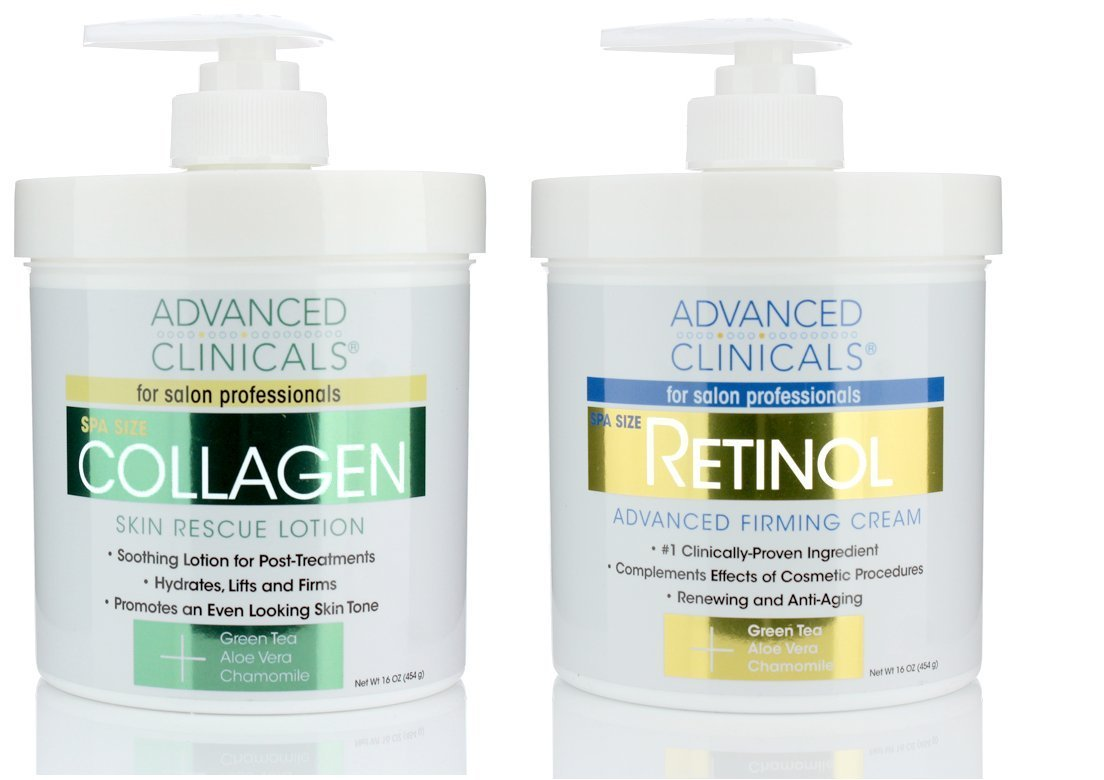 Advanced Clinicals Retinol Cream and Collagen Cream Skin Care set. Value anti-aging set for wrinkles, fine lines, firming skin. 16oz Spa size are great for face cream and body moisturizer. by Advanced Clinicals