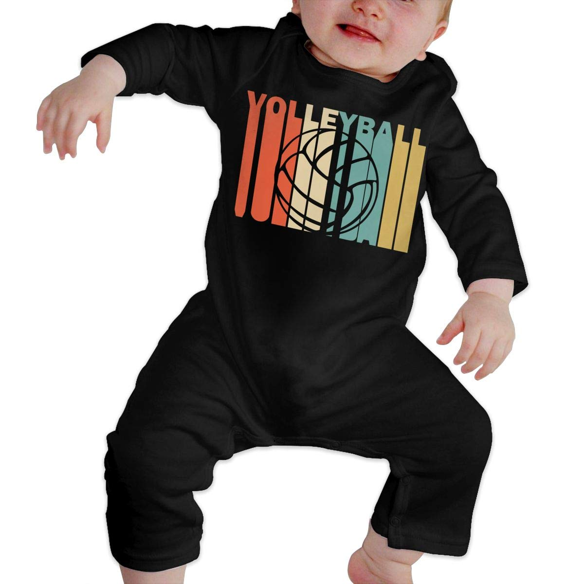 Cute Retro Style Volleyball Silhouette Sleepwear Long Sleeve Cotton Rompers for Unisex Baby