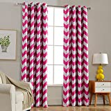 Melodieux Chevron Blackout Grommet Top Curtains, 52 by 84 Inch, Fuchsia Pink (1 Panel)