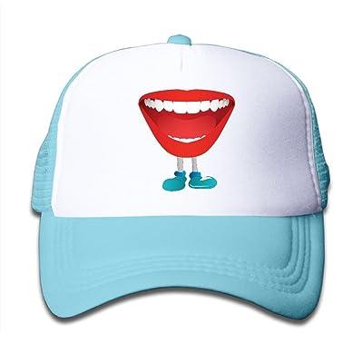 NO4LRM Kid's Boys Girls Red Lip Mouth Animal Youth Mesh Baseball Cap Summer Adjustable Trucker Hat