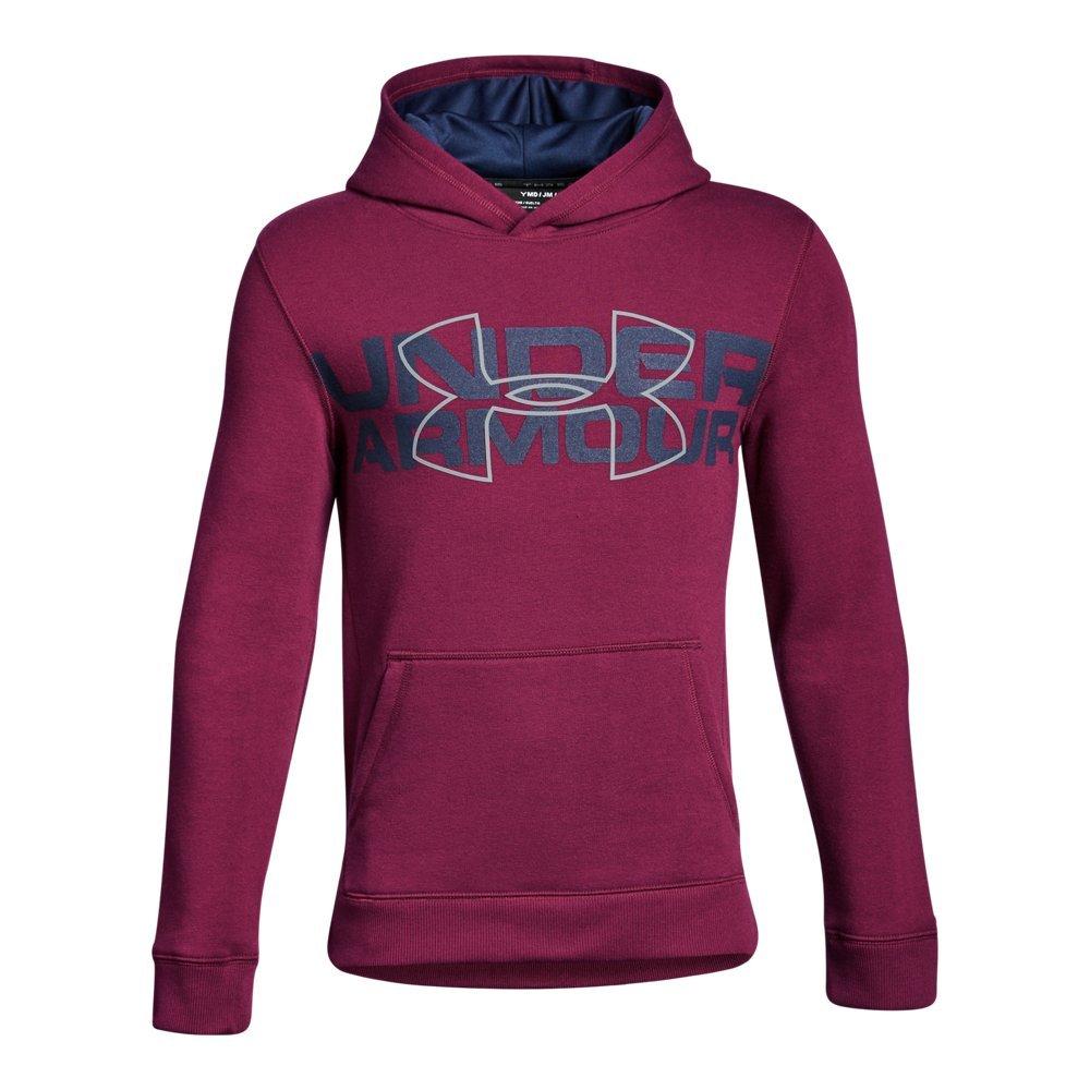 Under Armour Boys' Threadborne Logo Hoodie, Black Currant /Steel, Youth Small