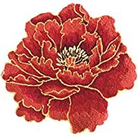 USTIDE Red Floral Area Rug Nonslip Bed Rug Handmade Designer Area Rug Red Peony 28.7 x28.7''