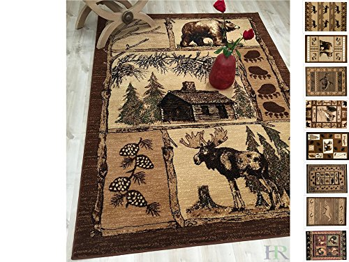 Handcraft Rugs Cabin Rug - Lodge, Cabin Nature and Animals Area Rug - Modern Geometric Design Cabin Area Rug - Abstract, Multicolor Design- Moose/Bear/Lodge/Nature (4x5 feet)]()