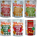 Low Carb, Gluten Free, High Protein, 100% Cheese – Whisps Cheese Crisps 5 Flavors (2.12oz) and Moon Cheese Sriracha (2oz) 6 Pack Bundle