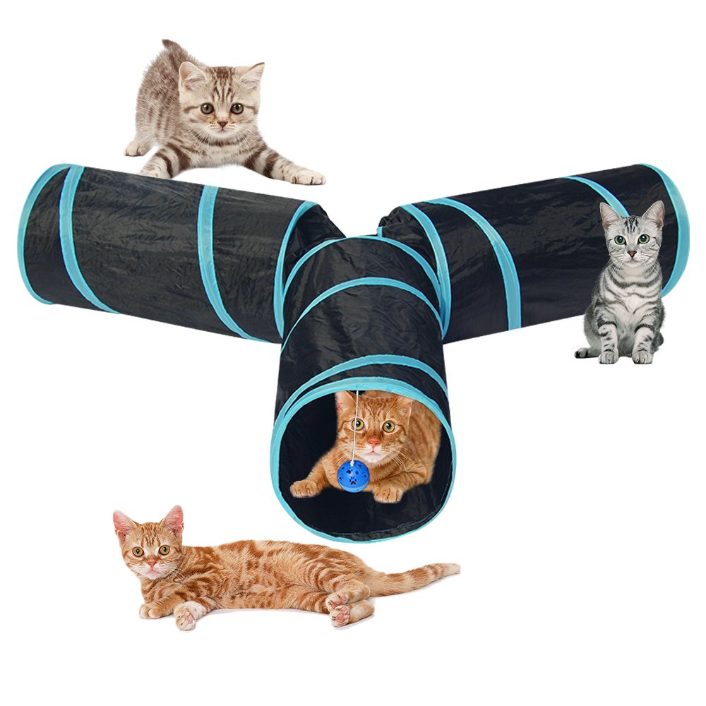 Cat Tunnel Toys 3 Way Collapsible Pet Play Tube with Crinkle for Indoor Cats Kittens - Large