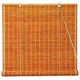Oriental Furniture Burnt Bamboo Roll Up Blinds - Honey - (36 in. x 72 in.)