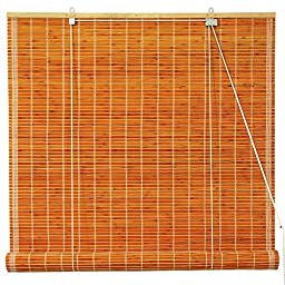 Oriental Furniture Burnt Bamboo Roll Up Blinds - Honey - (48 in. x 72 in.)