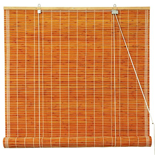 ORIENTAL FURNITURE Burnt Bamboo Roll Up Blinds - Honey - (48 in. x 72 in.) -
