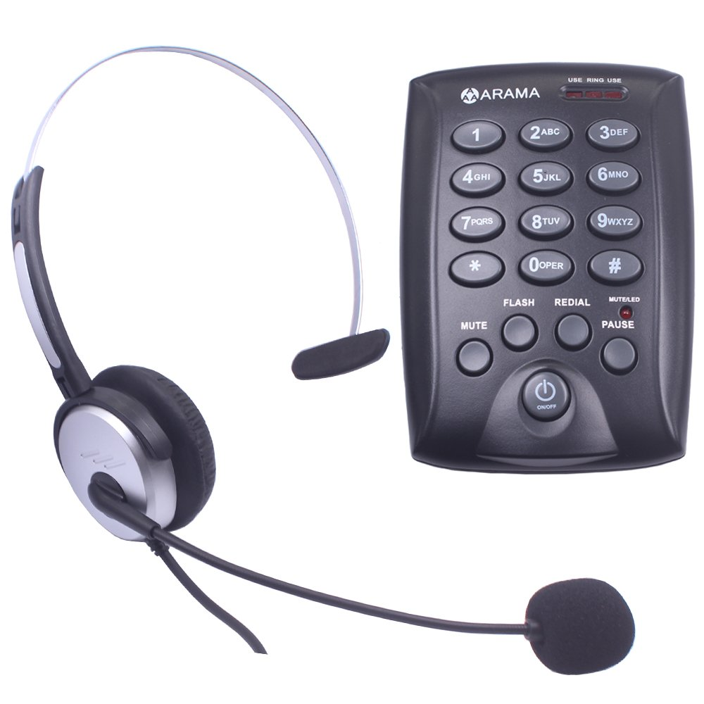 Arama Call Center Dialpad with Headset Corded telephone with headset for Office Business and Home