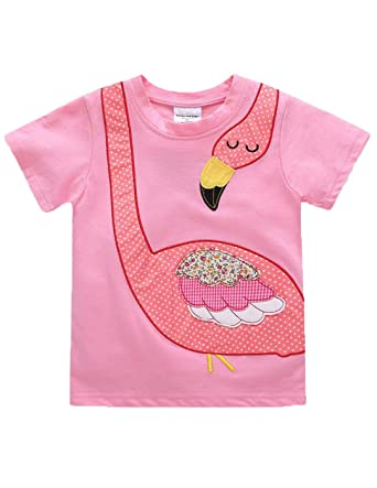 bbc958c0c7 Image Unavailable. Image not available for. Color  Mengmeng Striped Baby  Girls Short Sleeve t Shirt Applique Children Clothes Summer Tops Kids ...