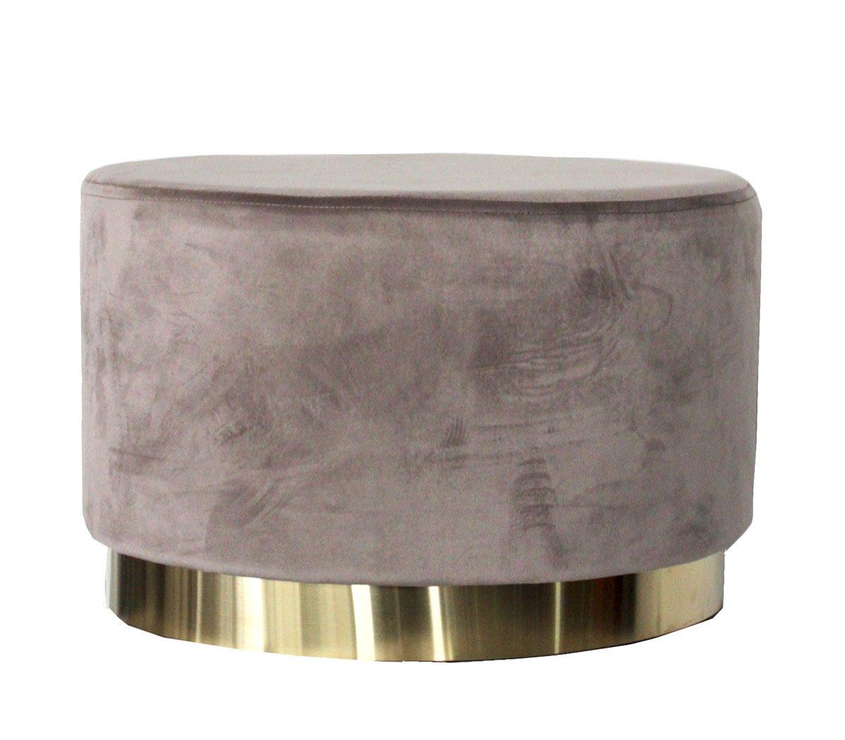 35x53x35 cm Keyhomestore Pouf Ovale Color Cipria per Soggiorno in Elegante Velluto Linea Soft