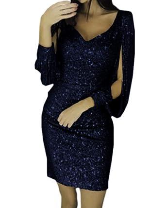 8fb29fc68fdce2 kenoce Partykleid Damen Sexy Abendkleider Elegante Festliches Kleid Fransen  Langarm V-Ausschnitt Cocktailkleid für Hochzeit Minikleid: Amazon.de:  Bekleidung
