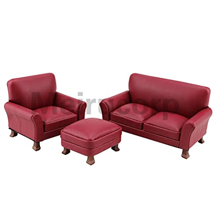 Stupendous Meirucorp 1 12 Scale Miniature Furniture Dollhouse Living Room Furniture Red Faux Leather Chair Sofa 3Pcs Set Gamerscity Chair Design For Home Gamerscityorg