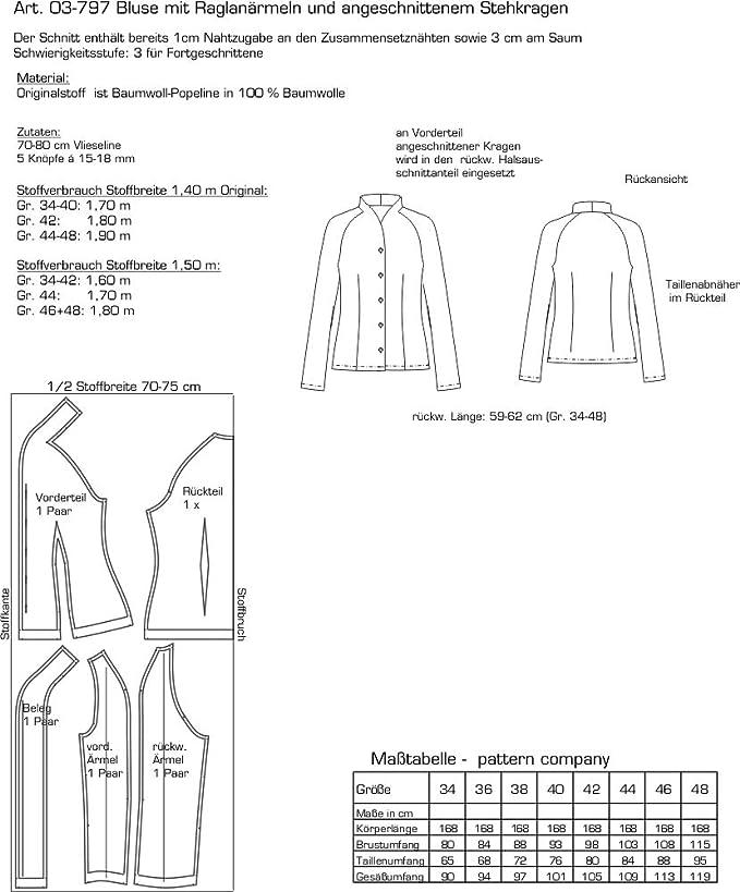 Pattern Company Schnittmuster 03797 Damenbluse mit Kelchkragen Gr ...