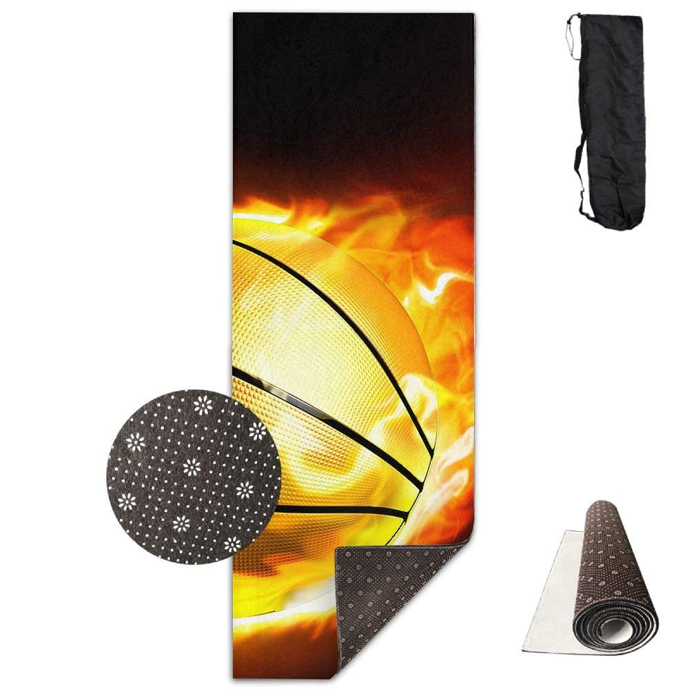 Basketball Fire Sport Deluxe Yoga Mat Aerobic Exercise Pilates