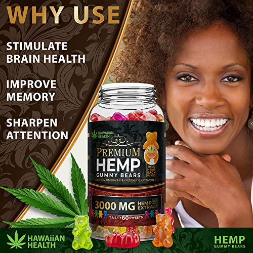 Natural Hemp Gummies 3000MG - 50MG Per Fruity Gummy Bear with Full Spectrum Hemp Extract   Natural Candy Supplements for Pain, Anxiety, Stress & Inflammation Relief   Promotes Sleep & Calm Mood by Hawaiian health (Image #3)