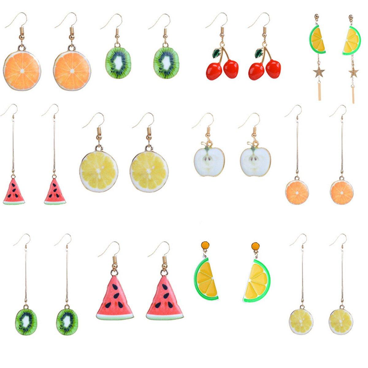 Mrotrida Women's/Girls Summer Fruit Drop Dangle Earrings 12 Pair