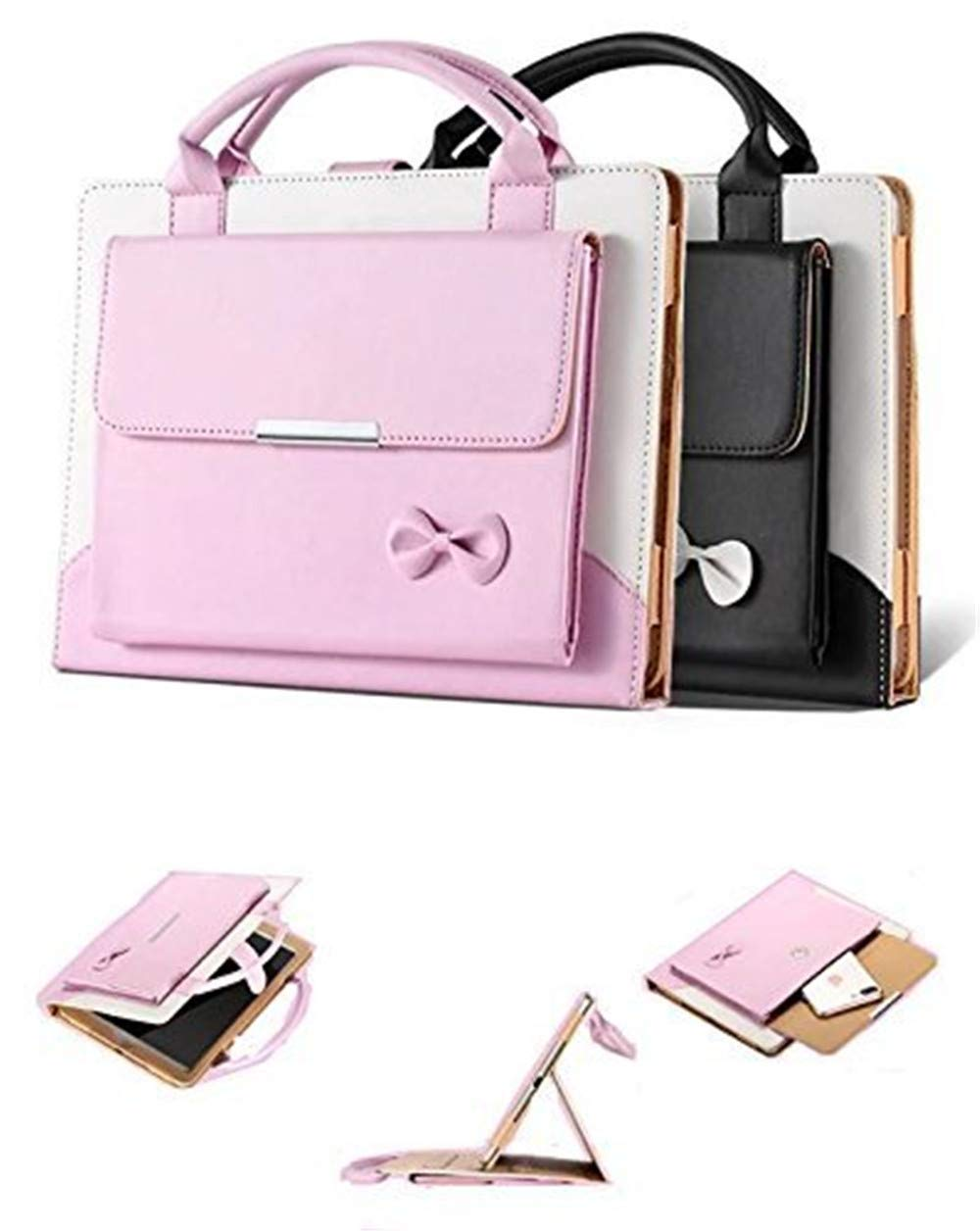 Businda iPad 9.7 2018/2017 Case, Portable Handbag Style Cute Bowknot Design Viewing Stand Carrying Sleeve with Auto Sleep/Wake Function for New iPad