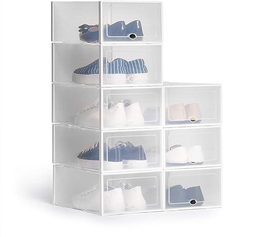 Hapilife - Caja de zapatos apilable (8 unidades, plástico, 35,5 x ...