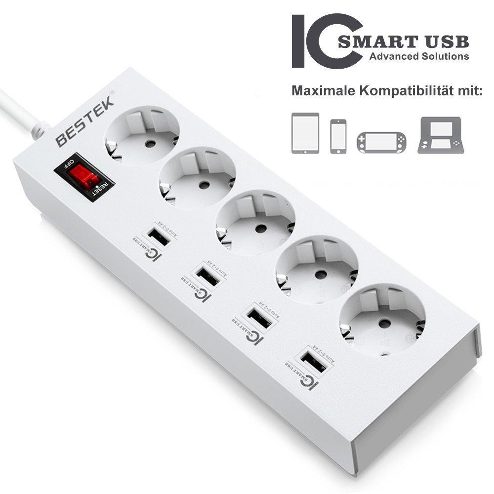 Regleta BESTEK con 5 tomas a prueba de niños, interruptor 4 puertos USB por solo 23,49€