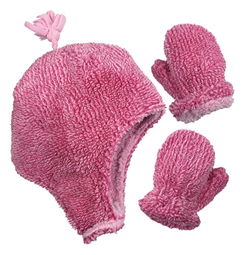 N'Ice Caps Little Girls and Baby Soft Sherpa Lined Micro Fleece Pilot Hat and Mitten Set (Fuchsia Fuzzy, 4-7 Years)