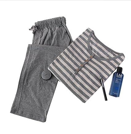 Lanker KJ08P - Camiseta de Manga Larga y Pijama Larga para Mujer, Algodón, Gris