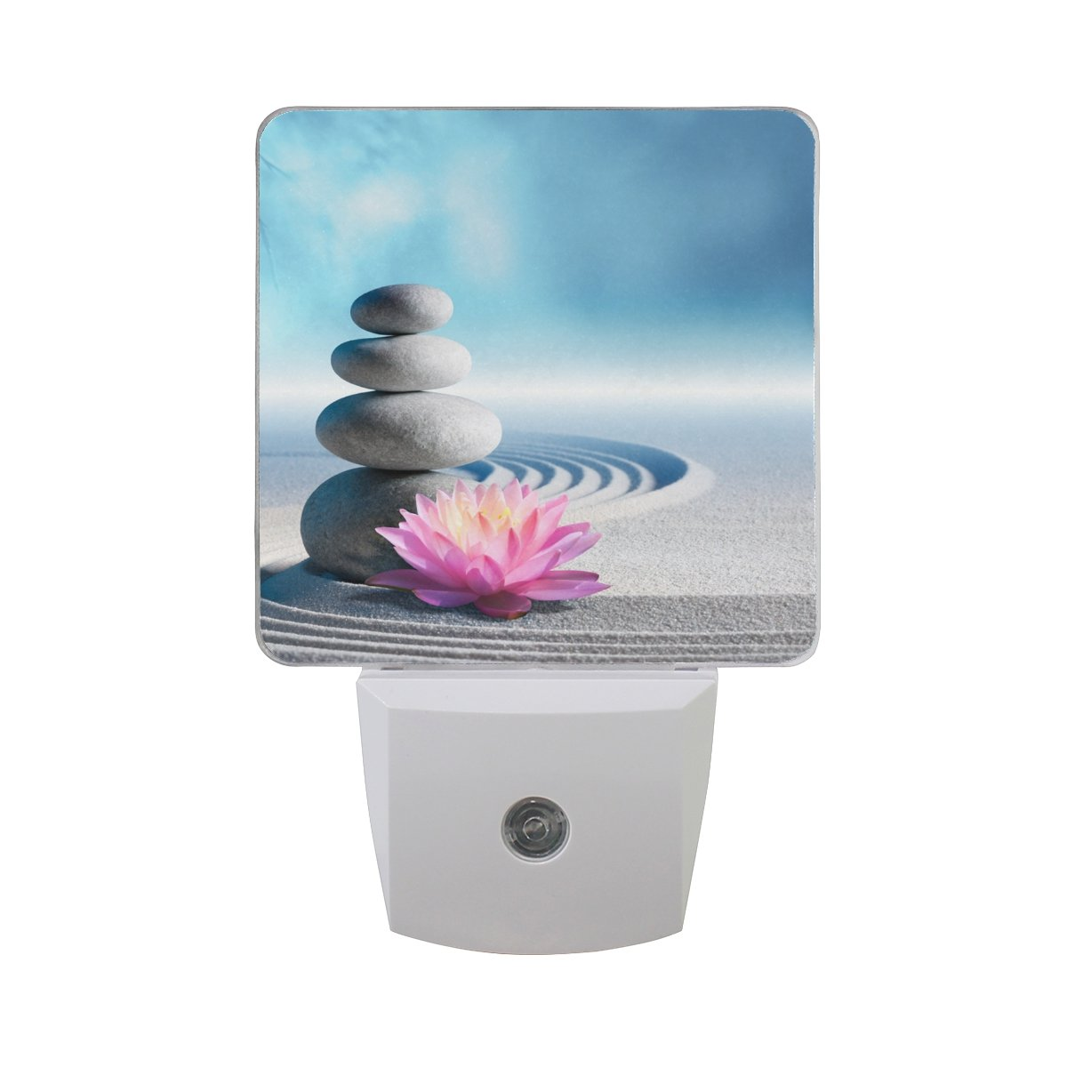 Naanle Set of 2 Sand Wave Water Lily And Spa Stone In Zen Garden With Blue Sky Auto Sensor LED Dusk To Dawn Night Light Plug In Indoor for Adults