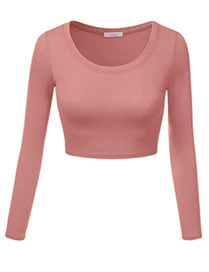 b573297227721c Image Unavailable. Image not available for. Color  Simlu Womens Crop Top  Round Neck Basic Long Sleeve ...
