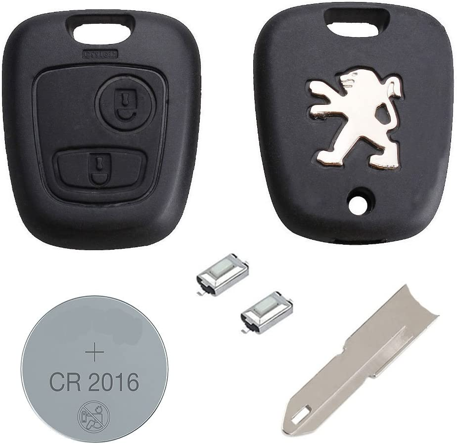2-button Key Fob Case Blade Battery For Peugeot 207,307,407,607 Repair Replace