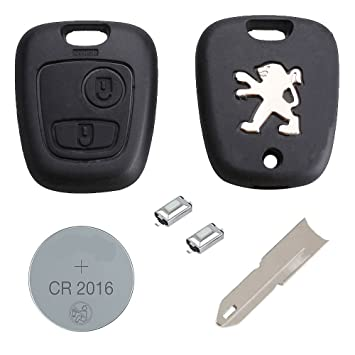 RKFUK® - Peugeot DIY Repair Kit - Replacement 2 Button Remote Car Key Fob  Case with LOGO, NE73 Blade, Battery and Micro Switches for Peugeot 106 206