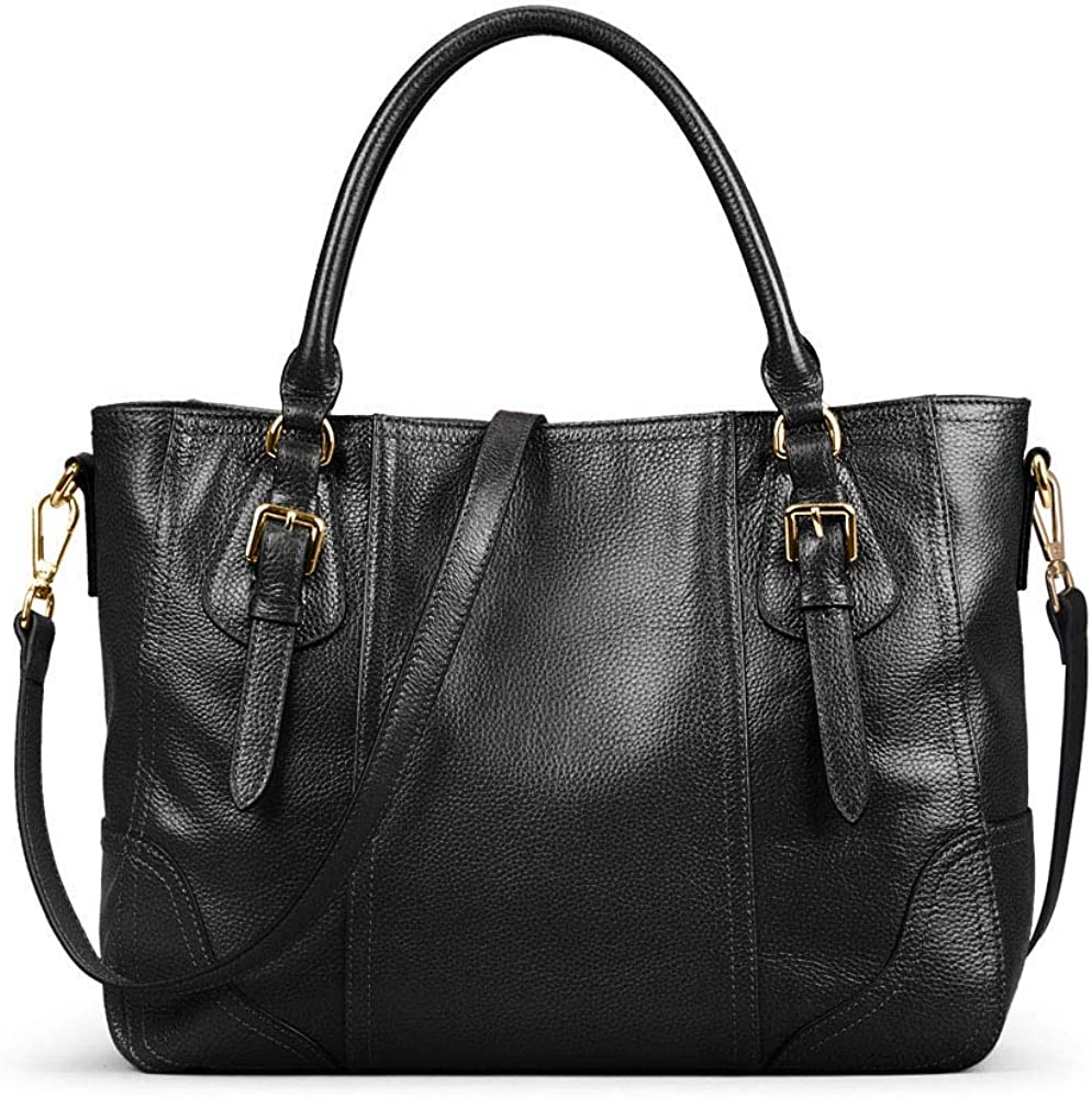 Kattee Womens Genuine Leather Handbags Shoulder Tote Organizer Top Handles Crossbody Bag Satchel Designer Purse