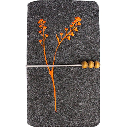 BXI Vintage Handmade Wool Felt Embroidered Notebook,Refillable Pages Travel Journal,Traveler's Notebook Tree 001