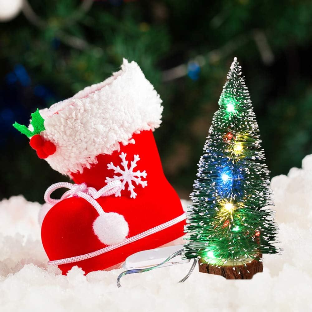 D/écorations De No/ël Bureau D/écoration avec Lumi/ères LED Mini Arbre De No/ël Joyeux No/ël Table D/écor Enfants Cadeau DragonPad Petit Sapin de Noel