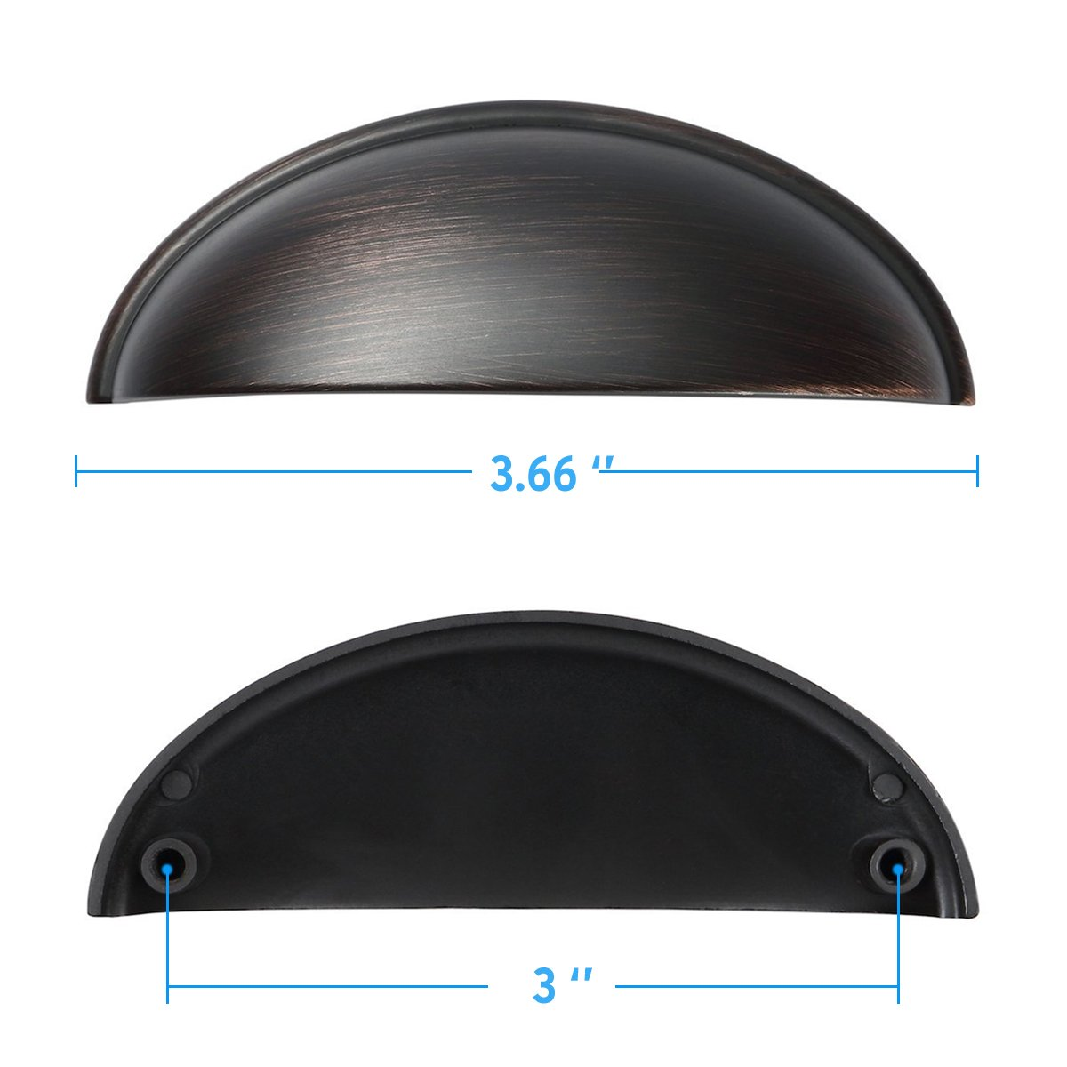 Amazer Cabinet Handle Pulls, D1000 Oil Rubbed Bronze Traditional Cabinet & Furniture Knobs Hardware Bin Cup Drawer Handle Pull - 3'' Inch (76mm) Hole Centers - 10 Pack by Amazer (Image #4)