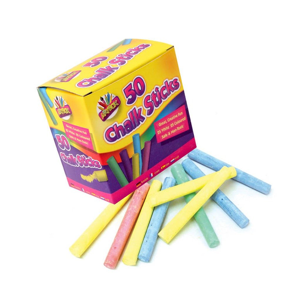 Assorted 12 Gaint Chalks For Kids//Nontoxic Coloured Chalk Box White Chalk
