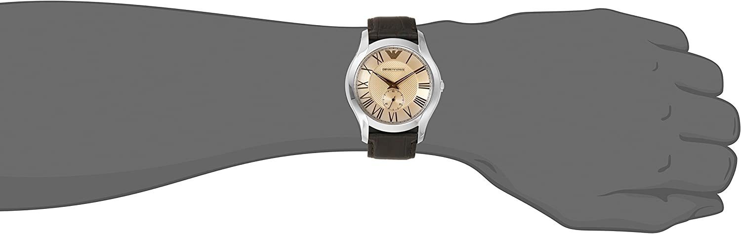 Emporio Armani Men s AR1704 Classic Champagne Dial Brown Leather, Watch