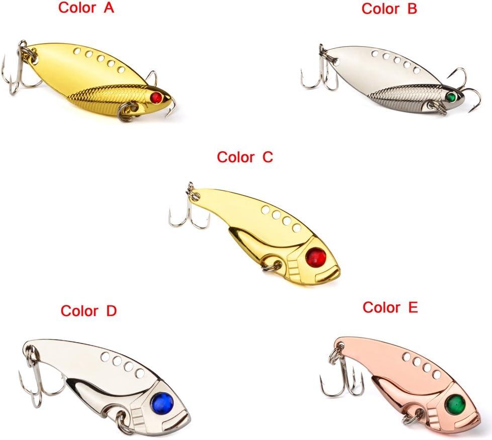 5PCS Lot Metal VIB Blade Fishing Lures Crankbaits Bass Hook Tackle 5cm 1 UH