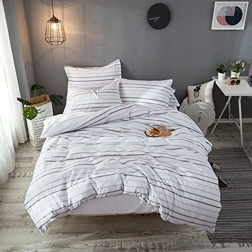 Merryfeel Cotton Seersucker Duvet Cover Set,100% Cotton Yarn Dyed Seersucker Woven Striped Comforter Cover with 2 pillowshams 3 Pieces Bedding Set- Queen