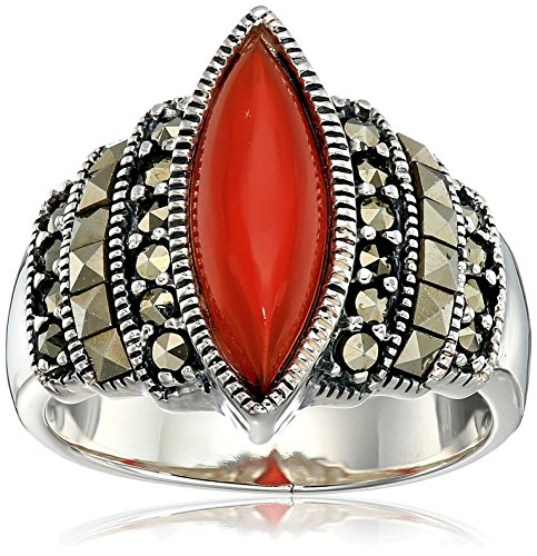asite and Marquise Cabochon Carnelian Ring, Size 7 (Cabochon Marcasite Ring)