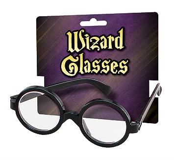 shoperama Mago Gafas de Accesorios de Disfraz Peluca Adulto Mago Magia Aprendiz Wig