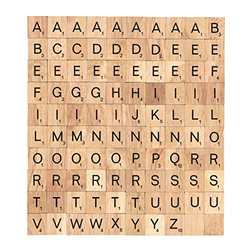 BSIRI Scrabble Tiles Wood Craft Letters Word Tiles for Scrap Booking 100 Pieces