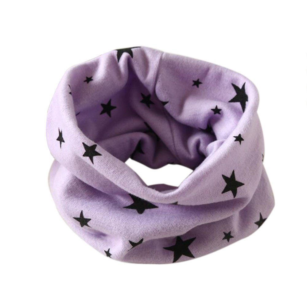 Baby Infinity Scarf, Inkach Toddler Star Print Cotton Winter Warm Shawl Scarves Loop Neck Warmer (Purple)