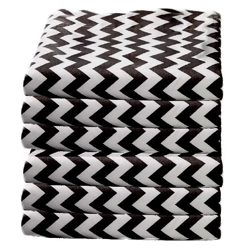 bkb Daycare 6 Piece Chevron Portable Crib Sheets, Black