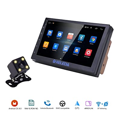 Keleda 7001 Double Din Car Stereo with Backup Camera, Auto GPS Navigation System for Android 9.1 with WiFi Bluetooth Radio Receiver 7in Touchscreen LCD Monitor,in-Dash Multimedia Video Player (1+16G): GPS & Navigation